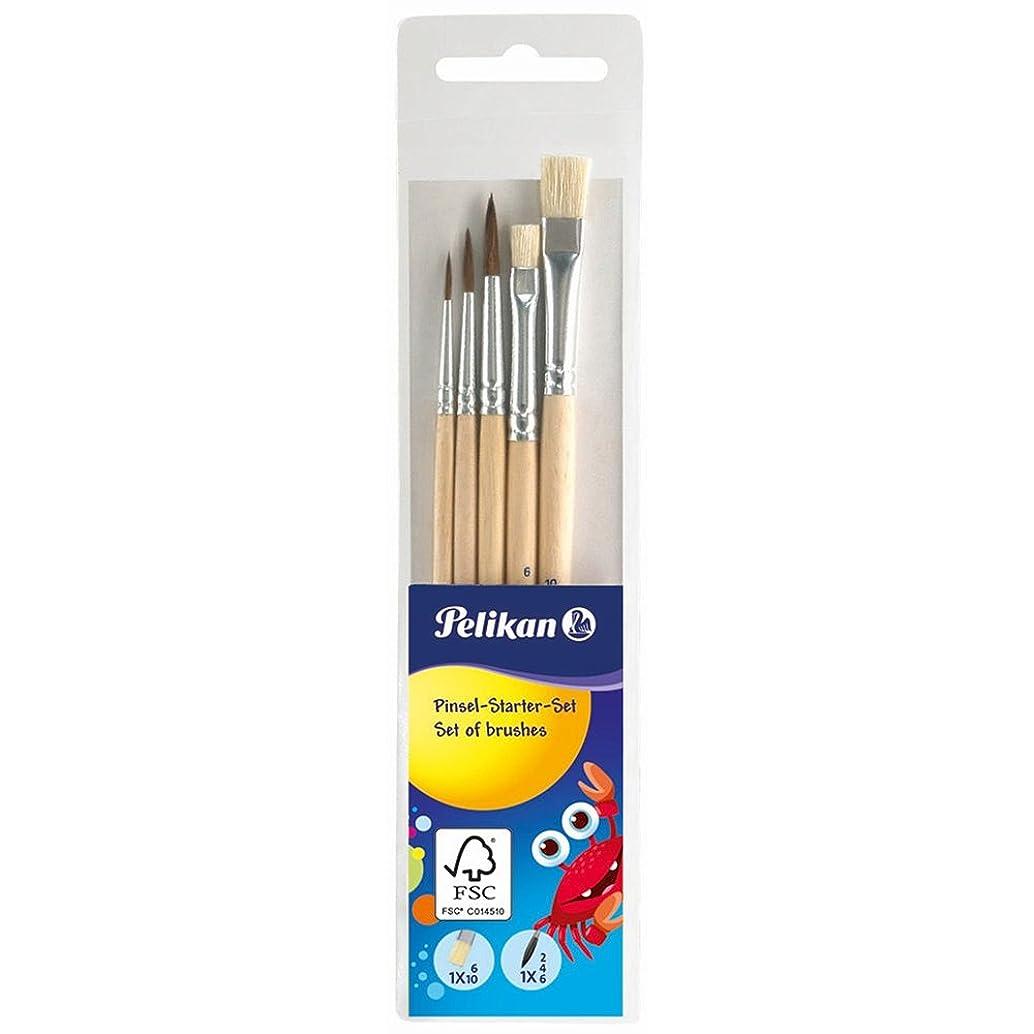 Pelikan 718163, Paint Brush Starter Set with 5 Hair Brushes