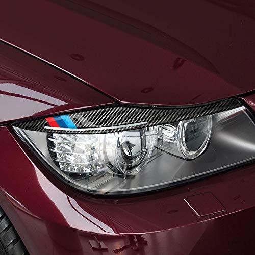DHFBS Koolstofvezel koplampen wenkbrauwen oogleden auto stickers, voor BMW E90 koplamp wenkbrauwen 3 serie 2005-2012 accessoires