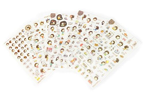 MissBirdler 5 Seiten Niedliche Aufkleber Sticker DIY Tagebuch Scrapbooking Deko Notizbuch Fotoalbum Cooky's Helloday ver.3 Emoji
