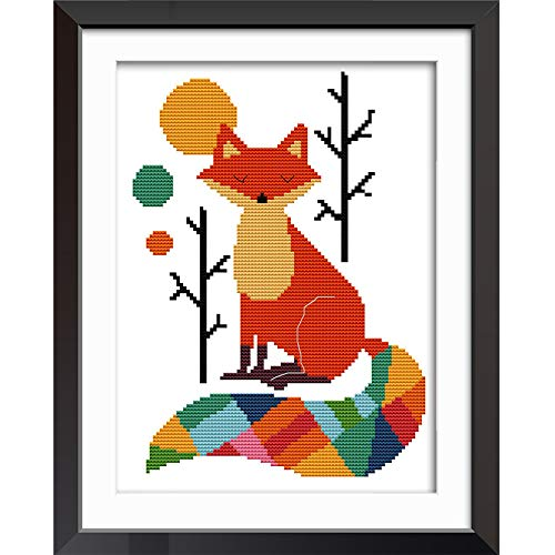 Joy Sunday Cross Stitch Kits 11CT Stamped Seven Color Fox 11'x15' or 28cmx38cm Easy Patterns Embroidery for Girls Crafts DMC Cross-Stitch Supplies Needlework Animal Series