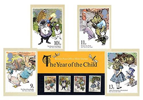 Gift Set van 1979 Jaar van het Kinderstempel Presentatie Pack en PHQ Kaarten (Set van 4 Royal Mail Postcards)