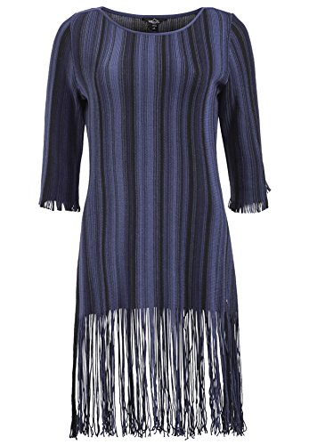 khujo dames jurk Mignon met franjes gebreide jurk met 3/4 mouwen zomerjurk met strepenpatroon