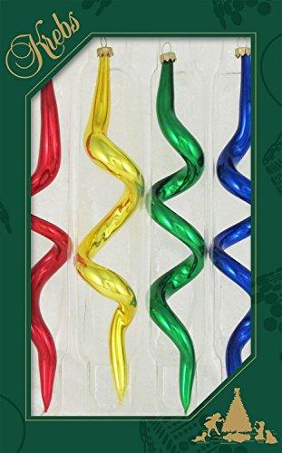 Dekohelden24 - Set di 4 cavatappi per albero di Natale, colore: rosso, giallo, verde, blu, lucido, ca. 19 cm