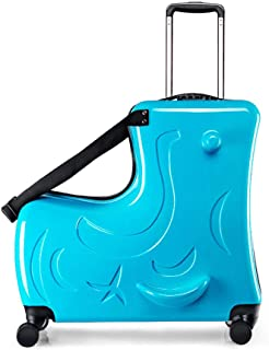YCYHMYF Cartoon Cute Caster can sit and Ride Children Trolley Suitcase Baby Suitcase Men and Women Suitcase Blue