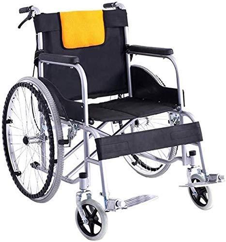 Y-Longhair Silla de ruedas Silla de ruedas Silla médica ligera plegable de aluminio con cinturón de seguridad Reposapiés extraíbles a prueba de pinchazos para personas mayores discapacitados