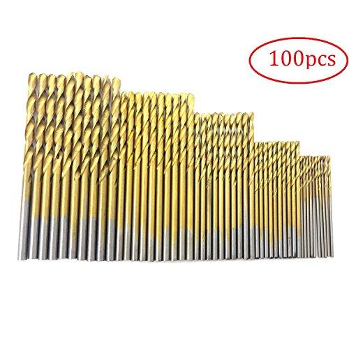 PANOVO 100pcs Twist Drill Bit Set, Titanium Coated High Speed Steel, Mini Drill Bit, Micro Precision 1/1.5/2/2.5/3mm, Perfect for Wood, Plastic, Steel and Aluminum Alloy