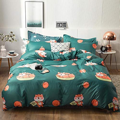 Miwaimao - Colcha de cama de tres piezas, algodón cepillado, lino y aloe para personas