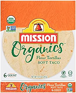 Mission Foods Organic Flour Soft Taco Tortillas Kosher Certified by CRC Non-GMO Project Certified Organic;