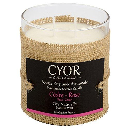 CYOR Bougie Parfumée CÈDRE-Rose 240g - 100% Naturelle - Fabriquée à la Main en France