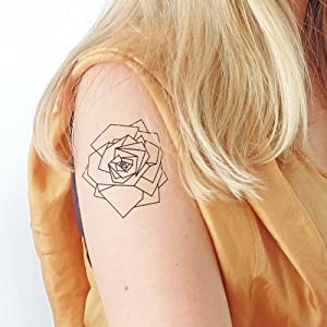 Geometrisches Rose – 2 Temporäre Tattoos
