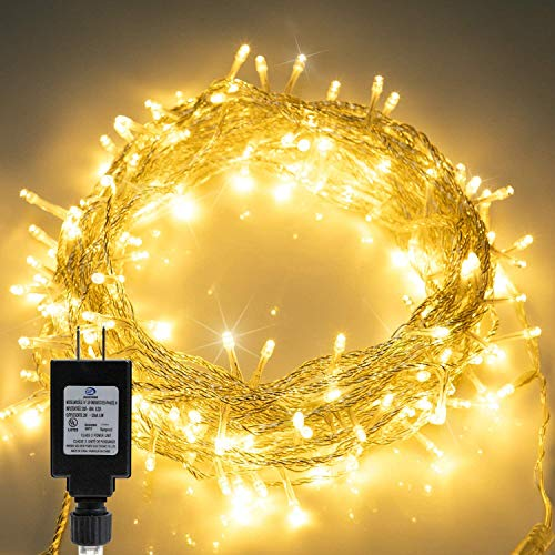 Christmas String Lights 66FT 200 LED Twinkle Fairy Lights String with 8 Light Modes for Christmas Trees Garland Wreath Wedding Indoor Outdoor Holiday Decorations with Warm White