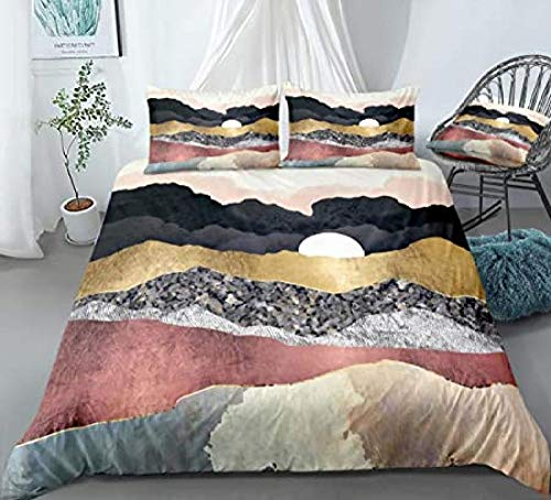 HUA JIE Kids Bedding Sets,Mountain Bedding Marble Duvet Cover Set Sunrise Sunset With Gold Black Grey Nature Mountain Printed Design Colorful Landscape Duvet Cover Pillowcases