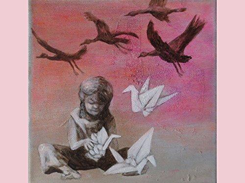 Karte Papierkranich, Glückwunschkarte pink, Geburtstagskarte, für Mädchen, Origami, Karte rosa, Ich-denke-an-Dich-Karte, Karte Vogelschwarm
