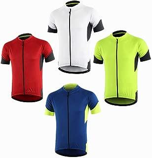 Dooy Men's Cycling Bike Jersey,Short/Long Sleeve MTB Shirts with 3 Rear Pockets-Breathable,Smooth Zipper Biking Shirt