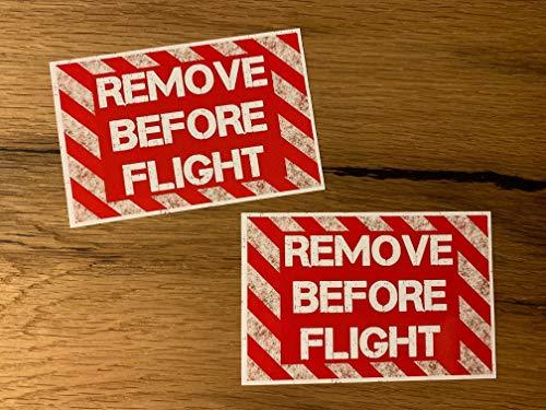24/7stickers #520 2X Remove Before Flight Aufkleber je 10x6,5cm Auto Tuning Flugzeug Modellbau Hubschrauber Turbine Oldschool Vintage Retro Racing