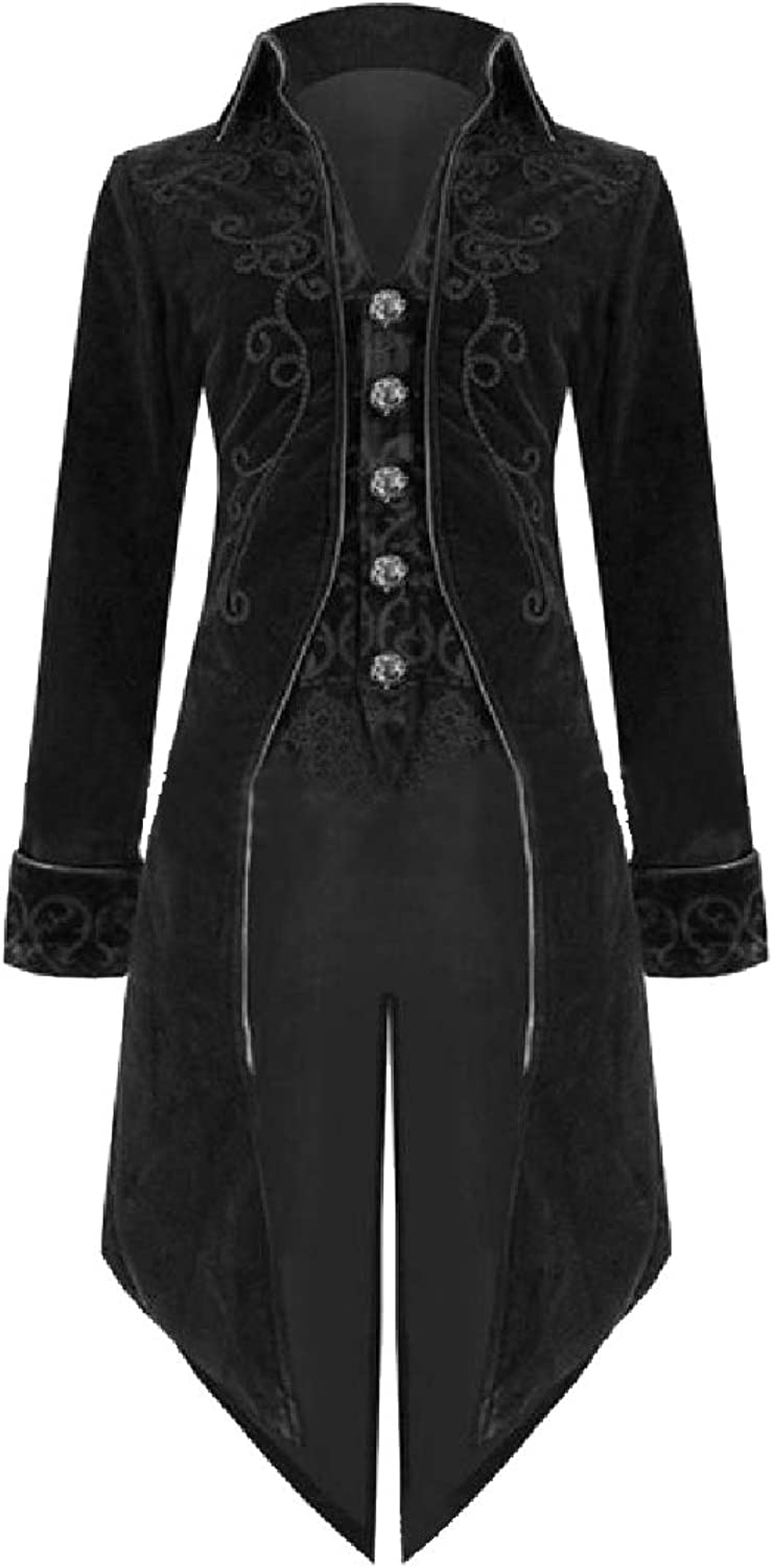 Abetteric Men Steampunk Knee Length Embroidered Medieval Trench Coat