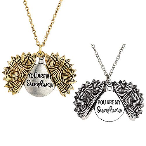 Gobesty You Are My Sunshine Collar Colgante, 2 piezas Grabado de Girasol Sunflower Locket Necklace Grabado con caja de regalo para mujeres niñas, oro y plata