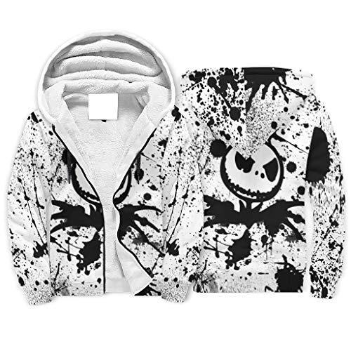 Ink Jack Nightmare Before Christmas - Sudadera con capucha para hombre de Halloween, agradable al tacto, con cremallera, bolsillos laterales para la vida diaria, color blanco XL