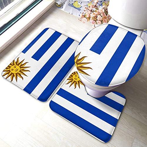 Bandera de Uruguay - Juego de 3 alfombrillas de baño antideslizantes y absorbentes de poliéster para asiento de inodoro (40 x 60 cm)