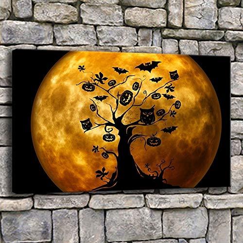 Pintura de la lona Arte de la pared 1 pieza Bruja de Halloween en escoba Naranja Imágenes para sala de estar Impresiones Búhos y murciélagos Cartel Decoración para el hogar R1 20x30CM (Sin mar