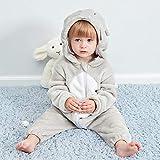 JJAIR Baby-Overall, One Piece rosa Schwein Tierkostüm Flanell mit Kapuze Spielanzug Soft Light Pajama Homewear,90