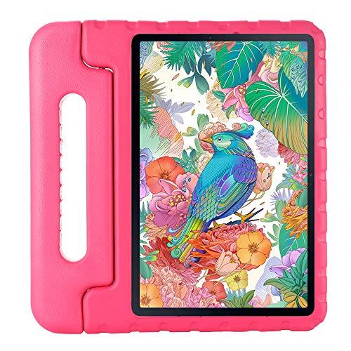 QANG Funda para Samsung Galaxy Tab S7 11 T870 T875, Ligero y Super Protective Antichoque EVA Estuche Protector Diseñar Especialmente Manija Caso con Soporte para los Niños (Rosa roja)