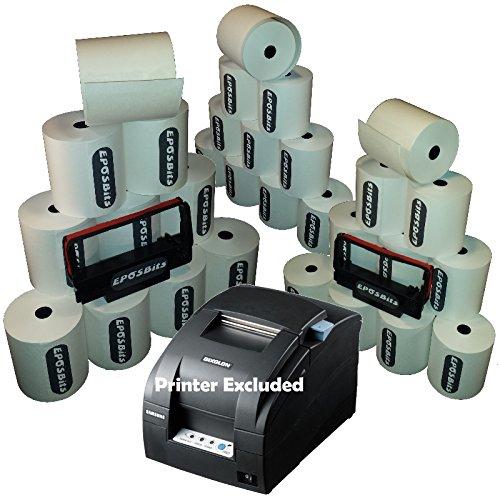 EPOSBITS® Brand **Essentials Pack** para impresora de recibos Samsung Bixolon SRP-275 SRP275 EPOS (30 rollos + 2 cartuchos de tinta)