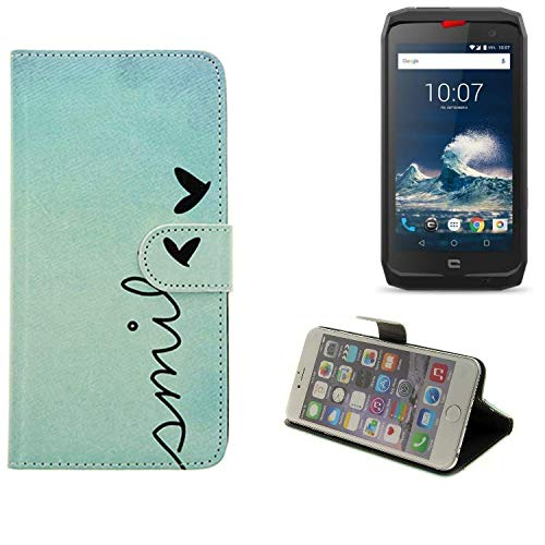 K-S-Trade® Schutzhülle Kompatibel Mit Crosscall Action-X3 Hülle Wallet Case Flip Cover Tasche Bookstyle Etui Handyhülle ''Smile'' Türkis Standfunktion Kameraschutz (1Stk)