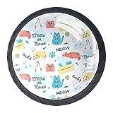 YATELI Lindo Gato Gatito Doodle Animal Words Pattern Perillas de extracción de para gabinetes, armarios, Puertas y cajones de Muebles: se Venden como un Paquete de 4 perillas