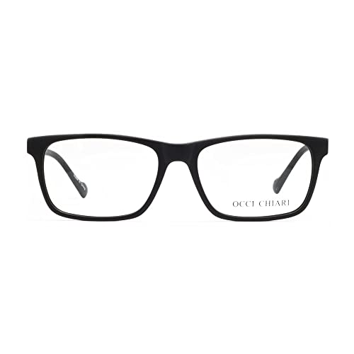 02f7f08e87af OCCI CHIARI Men Fashion Rectangle Stylish Eyewear Frame With  Non-Prescription Clear Lens