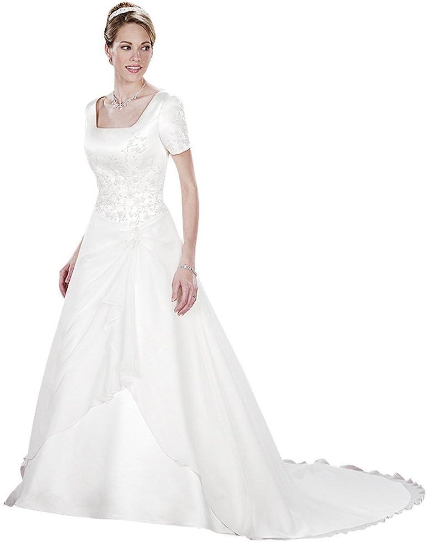 Dearta Women's ALine Square Neckline Court Train Satin Wedding Dresses