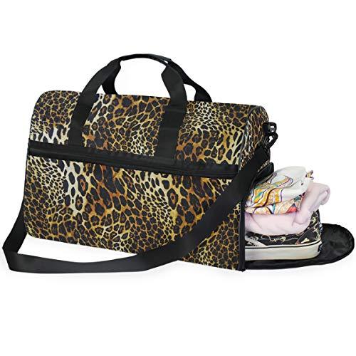 QMIN - Borsone da viaggio in pelle leopardata con stampa animalier, grande bagaglio a mano, leggero con cerniera, con tracolla, per donne, uomini e ragazze e ragazzi