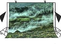HD 会う10x7ft自然の風景の背景フォレストグラスランドリバーフォグピクチャーテーマパーティーフォトブースTVウォールカーテン背景MT133