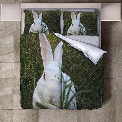 PERFECTPOT Super King Duvet Cover Set White Rabbit Grass 3D Printed Bedding Sets in Polyester, 1 Quilt Cover with 2 Pillowcases for Boys Girls Adults, 260 x 220 cm