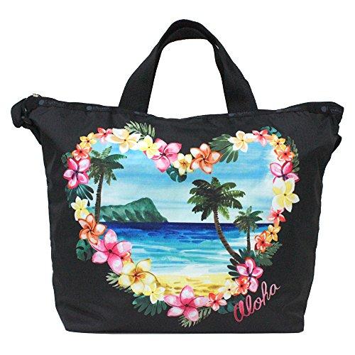 LeSportsac Aloha Sunrise Hawaii Handtasche mit Tragegriff oben, Stil 2431/Farbe K586, Platzierungsdruck – lebendige tropische Lei-Blumen und Palmen, Aloha-Druck vorne und hinten