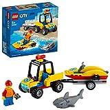 LEGO 60286 City Quad de Rescate Costero con Remolque, Juguete de Construcción con Moto de Agua y Figuras de Tiburón y Socorrista