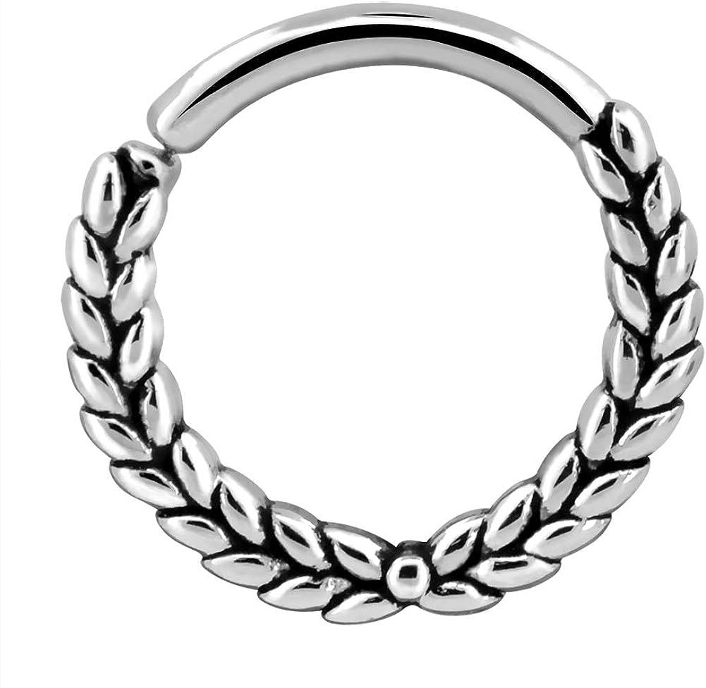 OUFER Twist Earring Hoop 16G Olive Branch Hoop Rings 316L Stainless Steel Septum Piercing Rings Hoop Tragus Earings Daith Helix Piercing Jewelry