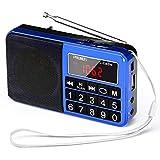 Xytton Radio Portátil FM/Am (MW) / SW/USB/Micro-SD / MP3, Estación De Radio con Botones Grandes Y Pantalla Grande, Radio Portátil Recargable con Batería De 1200 Mah (Azul)