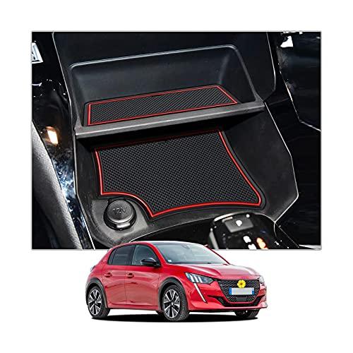 CDEFG pour Peugeot 208 e-208 2020 2021 GT Tapis Anti-poussière Antidérapant Coupe Porte Intérieure Tasse Boîte de Bras Caoutchouc Tapis de Stockage de Voiture Console Centrale Accessoires (Rouge)