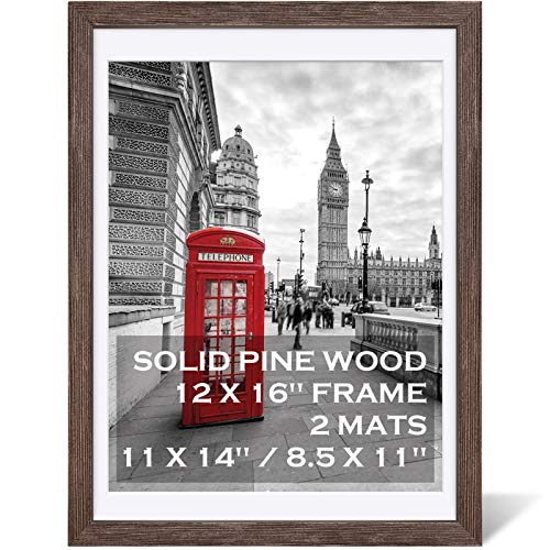 12x16 Rustic Picture Frames Solid Wood Display Pictures 11x14 or 8.5x11 Diplomas with Mat or 12x16 without Mat, Farmhouse Distressed Wooden Picture Frame for Wall or Table Top Display, Dark Walnut