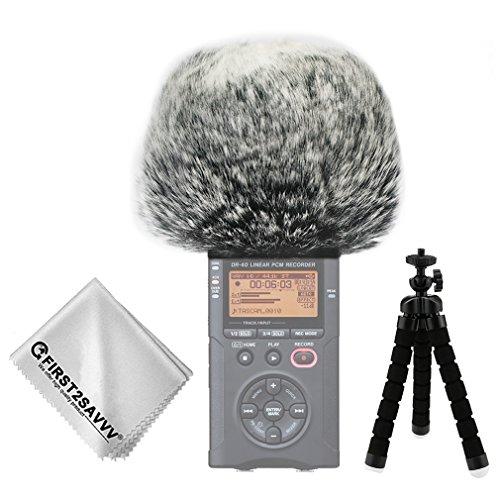 First2savvv negro Micrófono Externo Peludo Parabrisas Manguito Para Grabadores digitales para Tascam DR-40 DR40 + Paño de limpieza + Mini trípode TM-DM-DR40-B01TZ3