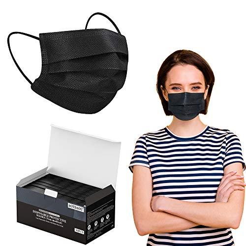 Black Face Mask for Adults Women Men, Black Face Mask Disposable, Breathable Disposable Mask with Adjustable Ear Loops (30PCS)