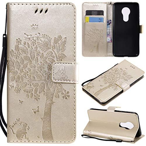 Motorola Moto G7 Power Hülle, SATURCASE Baum PU Lederhülle Magnetverschluss Brieftasche Kartenfächer Standfunktion Handy Tasche Schutzhülle Handyhülle Hülle für Motorola Moto G7 Power (Gold)