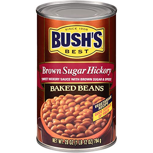 BUSH'S BEST Canned Brown Sugar Hickory Baked Beans, Source of Plant Based Protein and Fiber, Low Fat, Gluten Free, 28 oz
