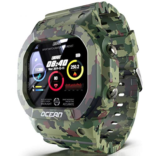 ASDF Smart Watch Herzfrequenz Fitness Tracker, Nachricht Erinnerung Schlaf-Tracking Pedometer Wecker, HD Display Wasserdicht (Color : Green)