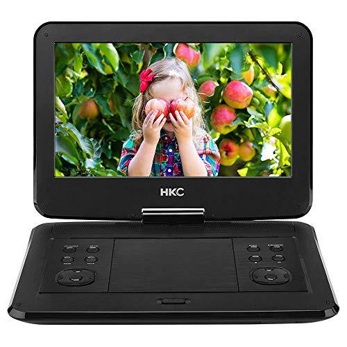 HKC D13HM 33,78 cm (13.3 Pouces) Lecteur DVD Portable, écran pivotant, Carte SD, Port USB, Batterie Rechargeable, télécommande, Chargeur Voiture, Noir
