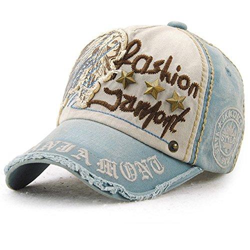 Gorra de béisbol Unisex ajustable Hat Tioamy Retro Baseball Cap Cap Algodón Fashinable Ocio Carta Sombrero exterior para hombres y mujeres