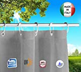 Tende Da Sole per Esterno Con Anelli a Caduta Su Misura MADE IN ITALY Stoffa Tessuto Impermeabile Antimuffa TELi Parasole Laterali Gazebo Balconi Terrazzo Veranda Camper (Grigio, cm x H 280cm)