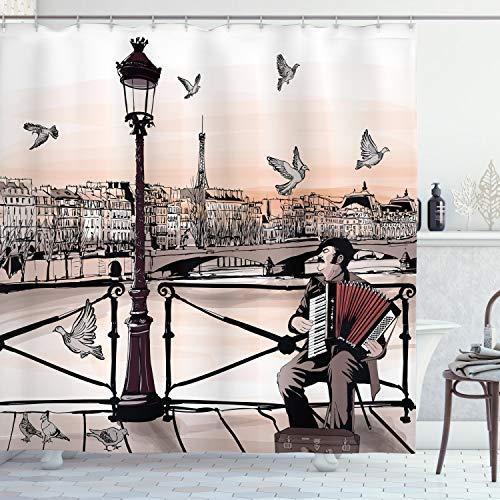 Ambesonne Music Shower Curtain, Accordionist Playing Paris Street Urban European Famous City Panorama Graphic Scene, Cloth Fabric Bathroom Decor Set with Hooks, 70