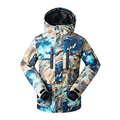 【WINDPROOF MEN'S SKI JACKET】 Adjustable double-layer velcro windproof cuffs, stretchable glove with thumb hole to keep you from wind/snow/rain during skiing/snowboarding. Hem inside windproof shirt and detachable adjustable storm hood helps to keep w...